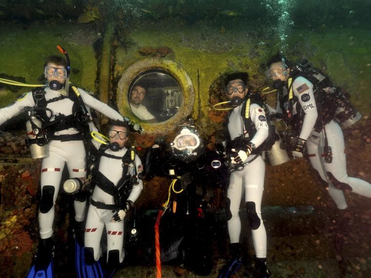 Image: Nasa Extreme Environment Mission Operations aquanauts are seen at Aquarius Habitat near Key Largo, Florida