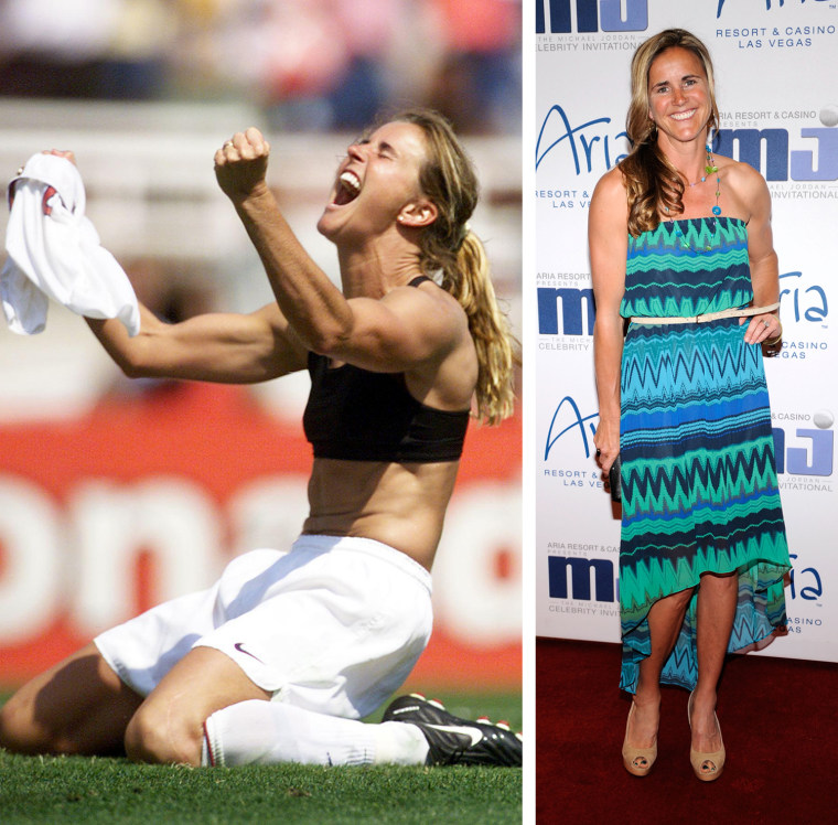 Brandi Chastain of the US celebrates after kicking the winning penalty shot to win the 1999 Women's World Cup final against China 10 July 1999 at the Rose Bowl in Pasadena. The US won 5-4 on penalty kicks.  LAS VEGAS, NV - MARCH 30:  Soccer player and broadcaster Brandi Chastain arrives at the 11th annual Michael Jordan Celebrity Invitational gala at the Aria Resort & Casino at CityCenter March 30, 2011 in Las Vegas, Nevada.