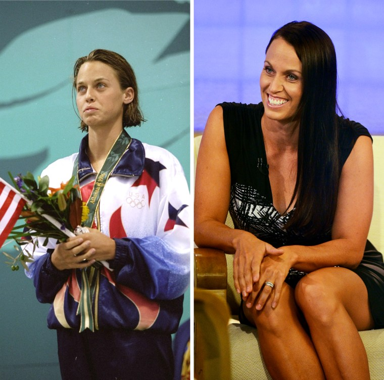 """21 Jul 1996: Amanda Beard of the USA celebrates on the podium after winning the silver medal in the women''s 100m breast stroke during the 1996 Olympic Games at the Georgia Tech Aquatic Center in Atlanta, Georgia.  Swimmer Amanda Beard tapes an interview at  the """"Today Show"""" at the NBC Rockefeller Center Studios on April 4, 2012 in New York City."""