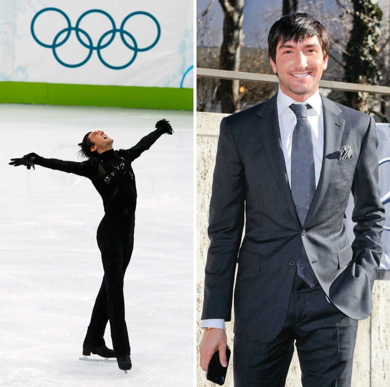 Evan Lysacek of the U.S. celebrates at the end of his routine during the men's short programme figure skating competition at the Vancouver 2010 Winter Olympics February 16, 2010.  Figure Skater Evan Lysacek enters the Fashion Week tents at Lincoln Center's Damrosch Park on February 15, 2011 in New York City.