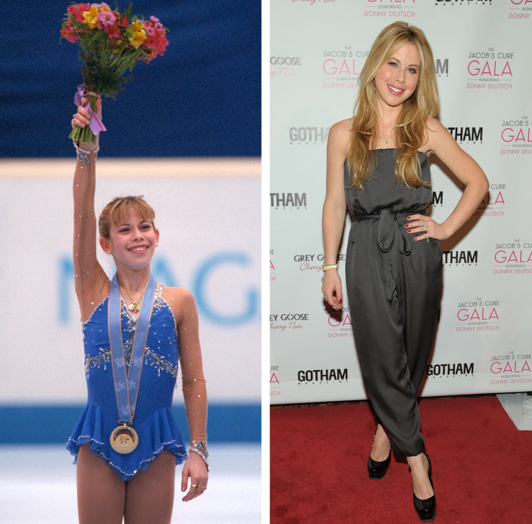 Tara Lipinski of the USA waves to the crowd with her gold medal after the free skate competition at White Ring Arena during the 1998 Winter Olympic Games in Nagano, Japan, Feb. 20, 1998.  Tara Lipinski attends Dream Big! The Jacob's Cure 2012 gala at Cipriani Wall Street on May 2, 2012 in New York City.