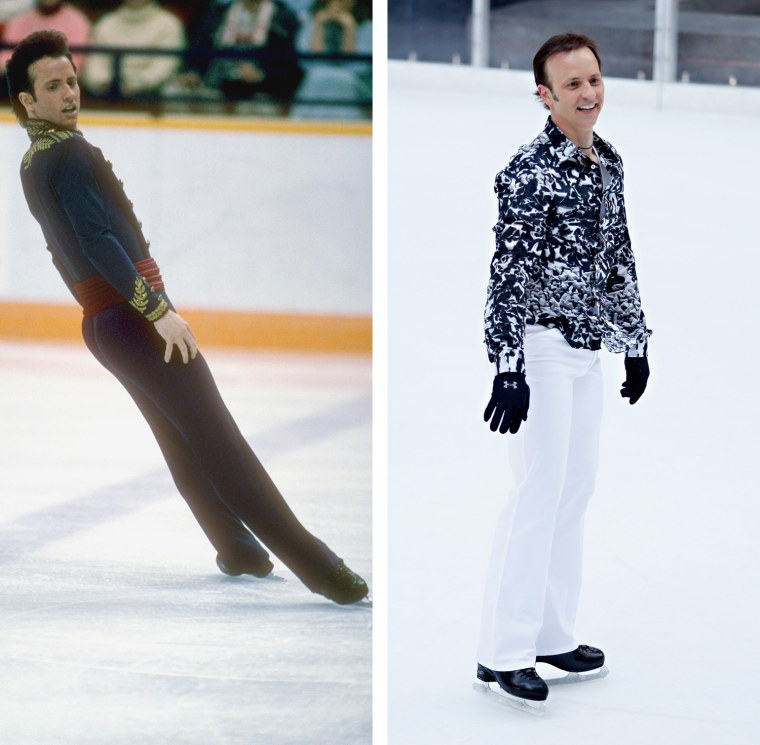 CALGARY - FEBRUARY 20:  Brian Boitaqno of the USA performs his routine during the men's figure skating competition on February 20, 1988 at the 1988 Winter Olympics in Calgary, Canada. Boitano won the gold medal. (Photo by: Bob Martin/Getty Images)  NEW YORK, NY - DECEMBER 14:  Olympic gold medalist Brian Boitano skates at The Rink at Rockefeller Center on December 14, 2011 in New York City.  (Photo by Cindy Ord/Getty Images)