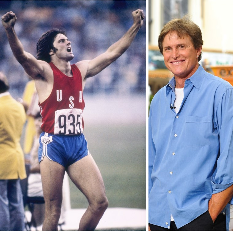 """Jul 1976:  Bruce Jenner of the USA celebrates during his record setting performance in the decathlon in the 1976 Summer Olympics in Montreal, Canada.  Bruce Jenner visits """"Extra"""" at The Grove on July 13, 2012 in Los Angeles, California."""