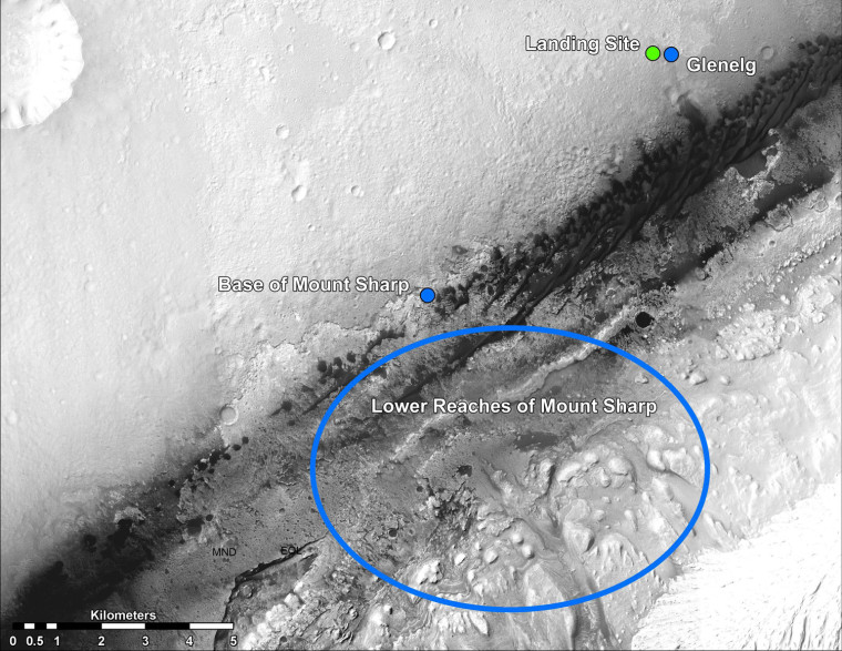 Image: NASA handout image shows the landing site of NASA's Curiosity rover on Mars