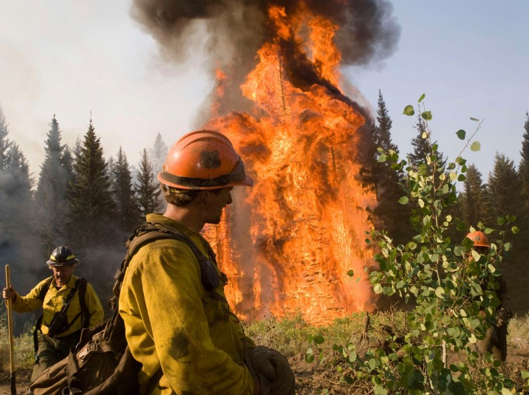 Image: Handout of U.S. Forest Service firefighters working on the Springs Fire in Boise National Forest near Banks-Garden Valley