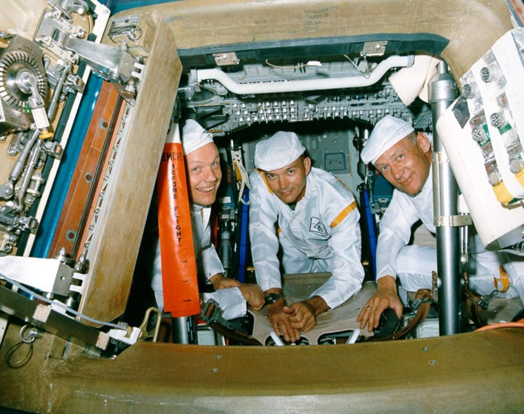 Image: Handout photo of Armstrong, Collins and Aldrin