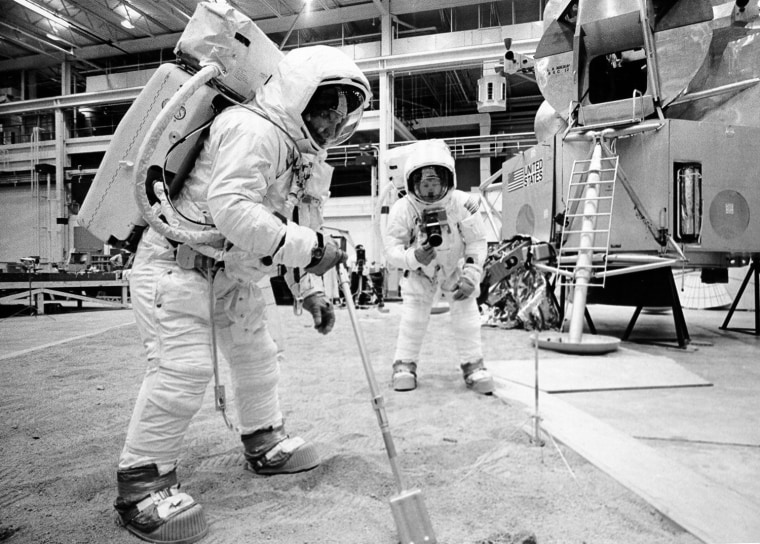 Image: Handout photo of Armstrong and Aldrin during training