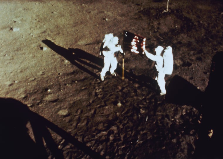Image: File: Neil Armstrong dies at 82      Stars And Stripes On The Moon