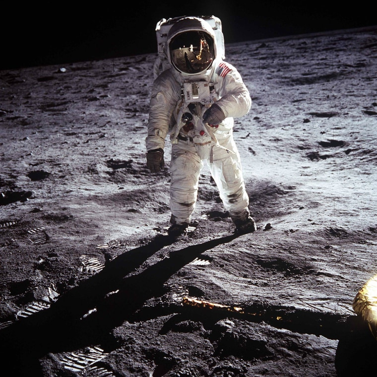 Image: NASA file image shows Buzz Aldrin on the moon next to the Lunar Module Eagle