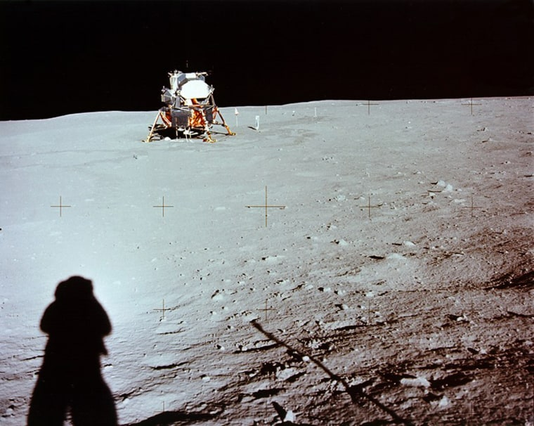 Image: Handout photo of the Apollo 11 mission on the moon