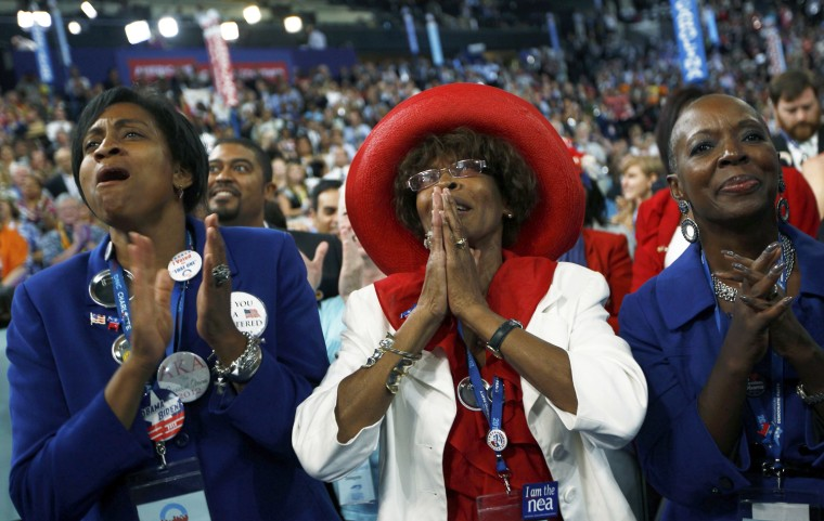 Image: North Carolina delegates listen to remarks by the Congressional Black Caucus during second session of the Democratic National Convention in Charlotte