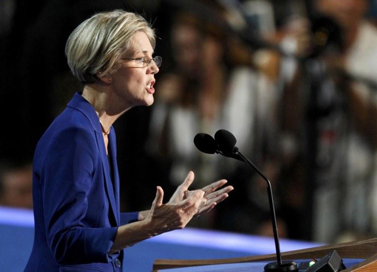 Image: Massachusetts U.S. Senate candidate Elizabeth Warren addresses delegates during the second session of the Democratic National Convention in Charlotte