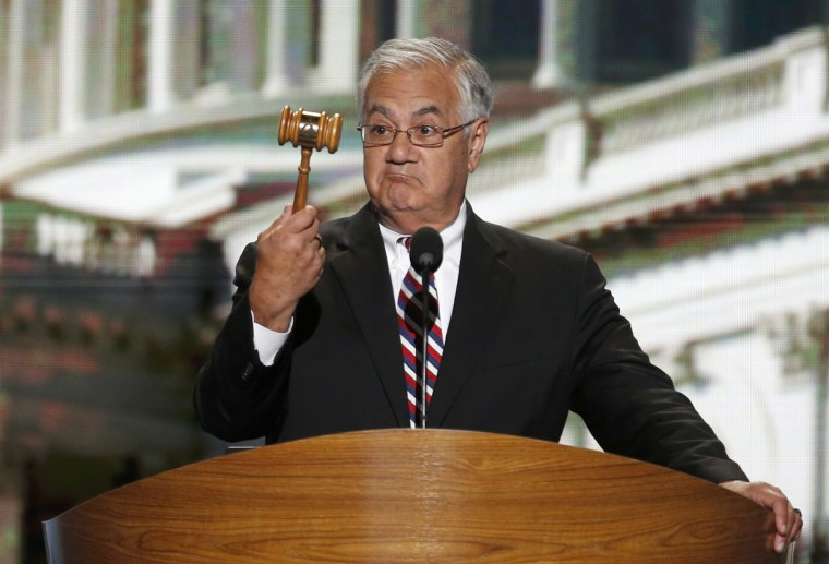 Image: U.S. Rep. Frank holds the gavel during the final session of the Democratic National Convention in Charlotte