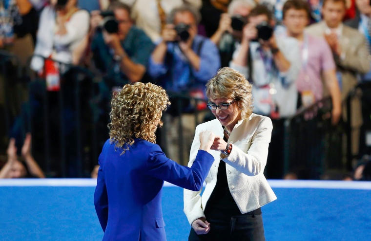 Image: Former Rep. Giffords and Rep. Wasserman Schultz react after reciting the Pledge of Allegiance at the Democratic National Convention in Charlotte