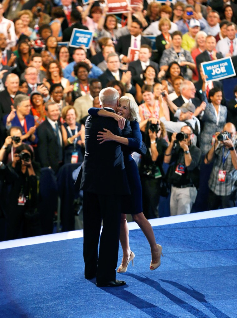 Image: U.S. Vice President Joe Biden hugs his wife Jill after accepting the U.S Democratic vice presidential nomination during the final session of the Democratic National Convention in Charlotte