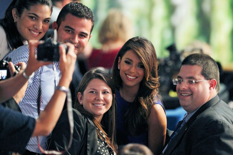 Image: Actress Longoria has her picture taken with delegates during the final session of the Democratic National Convention in Charlotte