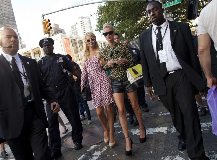 Image: Socialites Paris and Hilton make an appearance at New York Fashion Week