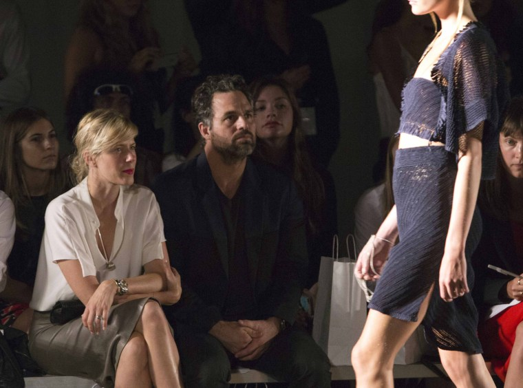 Image: Actor Mark Ruffalo and wife Sunrise Ruffalo attend the Zero  Maria Cornejo Spring/Summer 2013 collection during New York Fashion Week