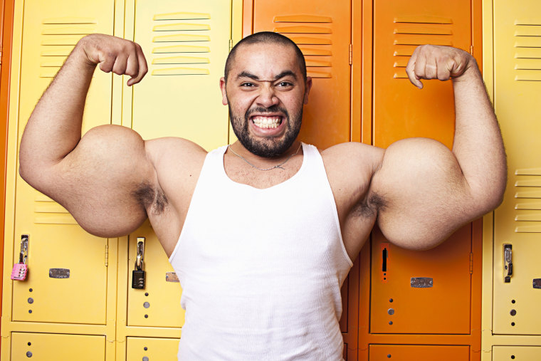 Moustafa Adel Ismail - Largest Biceps Guinness World Records 2011 Credit: James Ellerker/Guinness World Records Location: Massachussets, USA