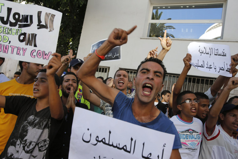 Image: Demonstrators protest in front of the U.S. embassy in Casablanca