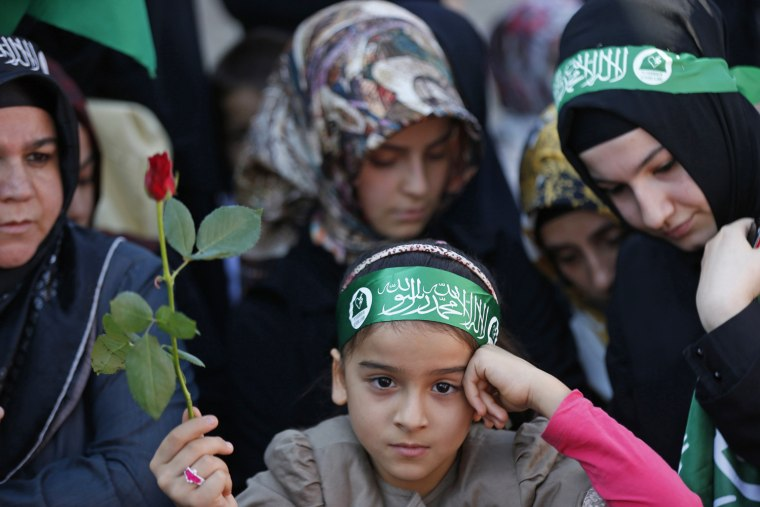 Image: A girl holds a rose during a protest against a film made in the U.S. and cartoons published by a French magazine that denigrate Islam's Prophet Mohammad, in central Istanbul