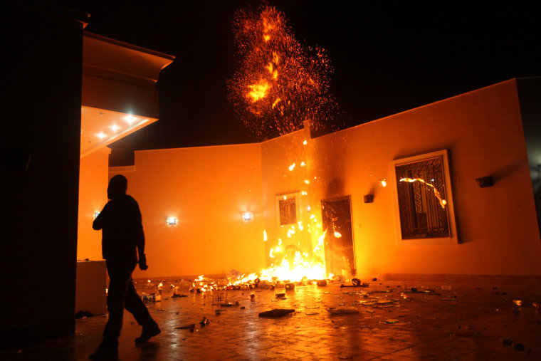 Image: The U.S. Consulate in Benghazi is seen in flames during a protest