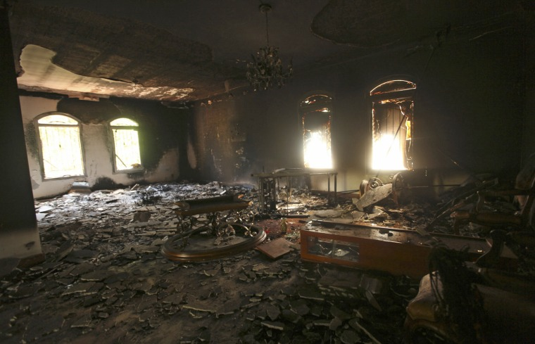 Image: An interior view of the U.S. consulate, which was attacked and set on fire by gunmen yesterday, in Benghazi