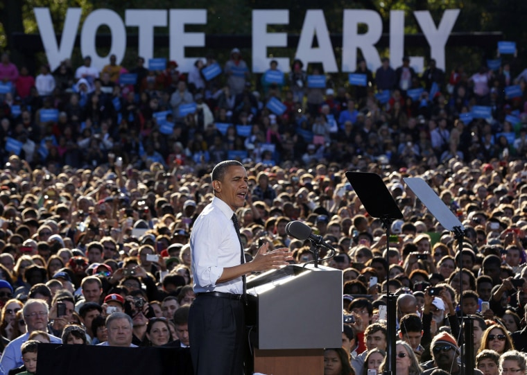 Image: U.S. President Barack Obama speaks to a crowd at a campaign event in The Oval at Ohio State University in Columbus