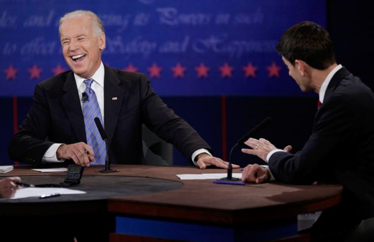 Image: U.S. Vice President Biden debates Republican vice presidential nominee Ryan during the U.S. vice presidential debate in Danville