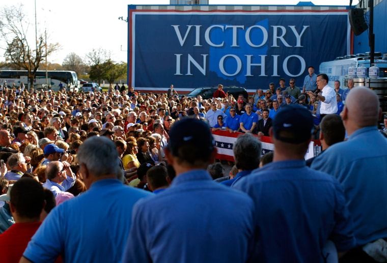 Image: Republican presidential nominee Romney speaks at a campaign rally at Worthington Industries in Worthington