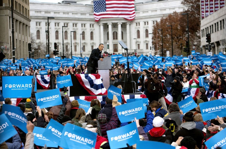 Image: Obama Campaigns In Midwest Swing States One Day Before Election Day