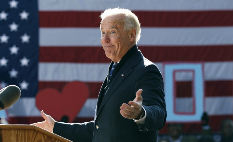 Image: U.S. Vice President Joe Biden speaks during a campaign rally in Sterling