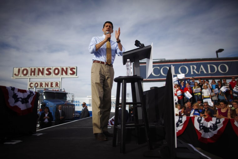 Image: Republican vice presidential candidate Paul Ryan attends a campaign event at Johnson's Corner in Johnstown