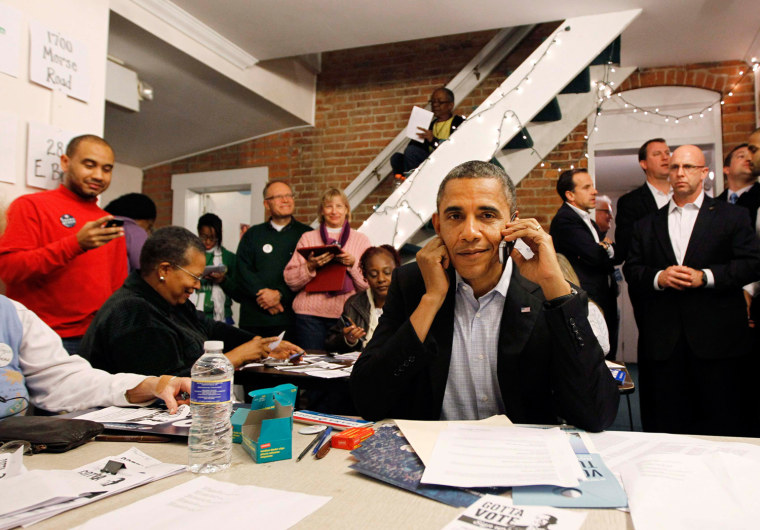 Image: U.S. President Barack Obama makes calls to volunteers who have helped his re-election cause, from the German Village election campaign office in Columbus