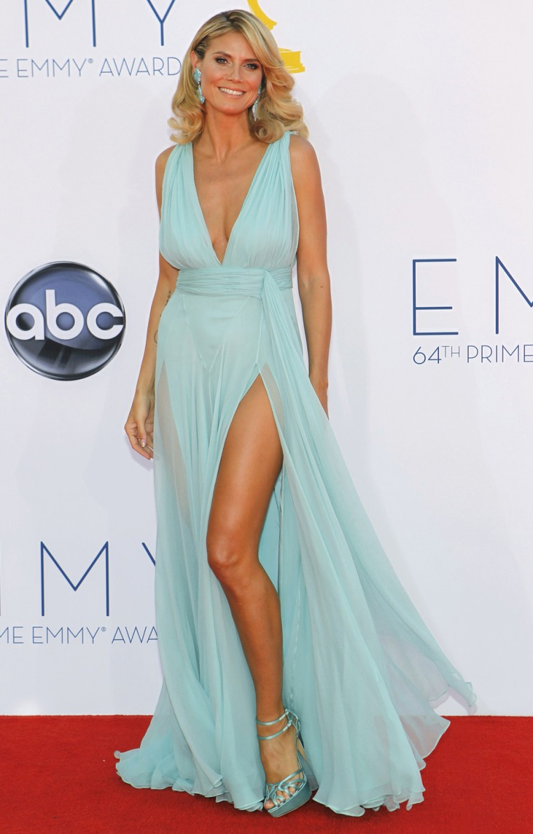 """Image: """"Project Runway"""" host and model Klum arrives at the 64th Primetime Emmy Awards in Los Angeles"""