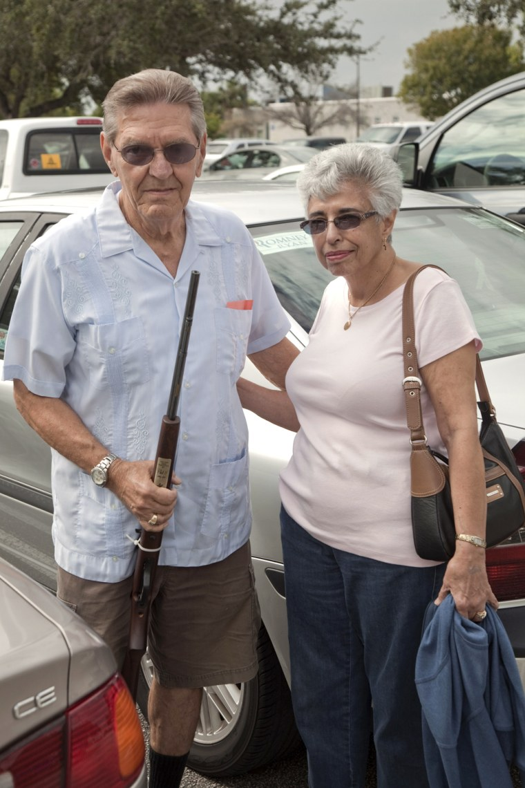 "West Palm Beach, Florida, USA, run-up to the 2012 U.S. presidential election. Frank and Florence Watson, former New Yorkers who have retired in S. Florida, leaving the West Palm Beach gun and knife show. Frank: ""The Obama administration has done everythin"