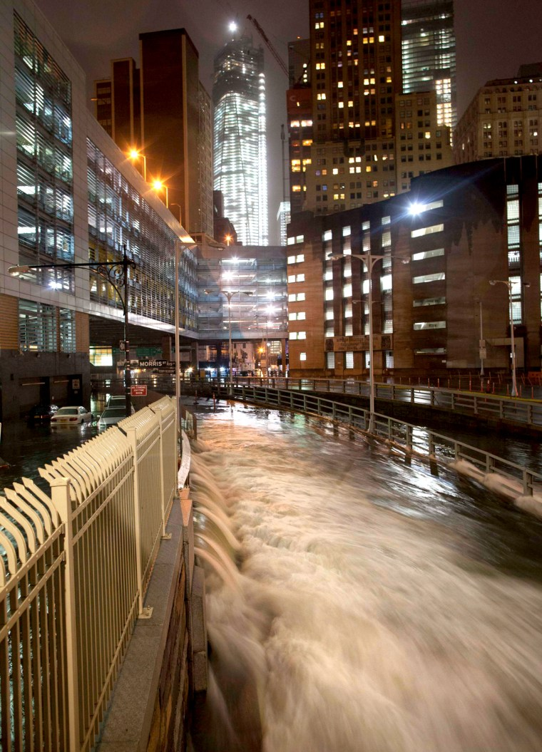 Image: A deluge of water floods the Battery Tunnel in Manhattan as Hurricane Sandy made its approach in New York
