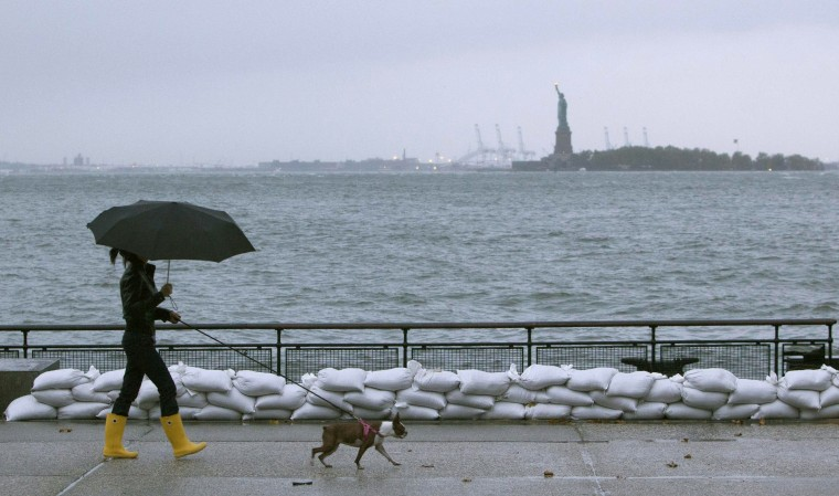 Image: A woman walks her dog by sandbags in Battery Park in downtown Manhattan as Hurricane Sandy made its approach in New York