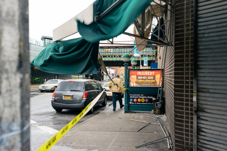 Heavy winds had torn the awning off of this supermarket at the corner of 75th Street and Broadway.