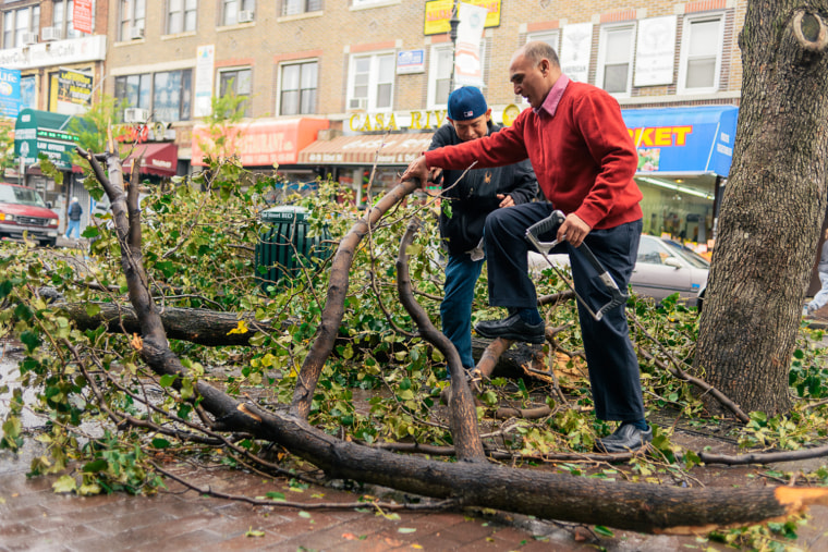 A store owner on 82nd street worked to clear a fallen tree in front of his market.
