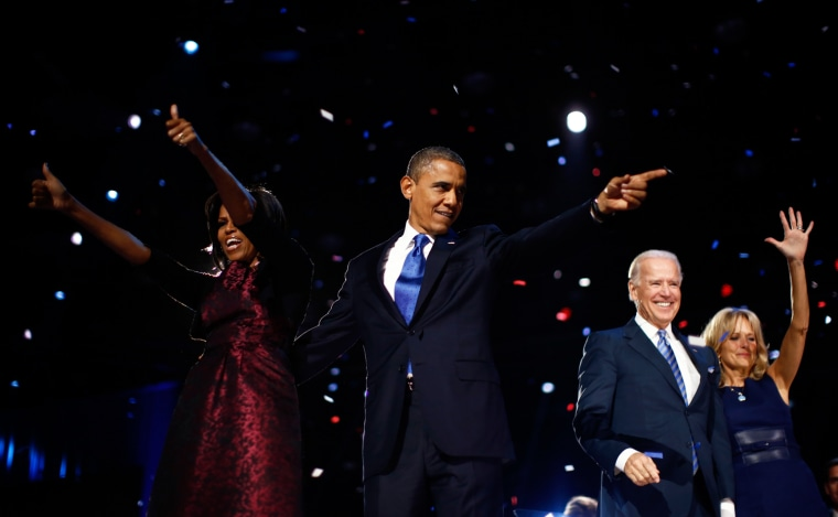 Image: U.S. President Barack Obama celebrates with his wife Michelle, his Vice President Joe Biden and his wife Jill after winning the U.S. presidential election in Chicago,