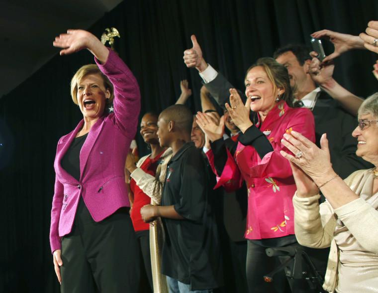 Image: Senate Candidate Tammy Baldwin Holds Election Night Gathering In Madison, Wisconsin
