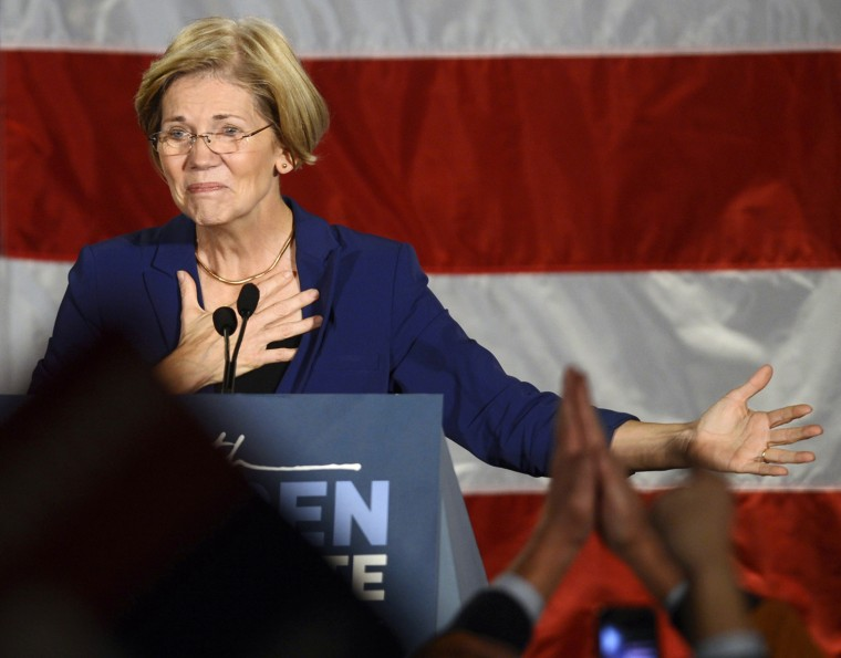 Image: Democratic candidate for the U.S. Senate seat for Massachusetts Elizabeth Warren addresses supporters during her victory rally in Boston