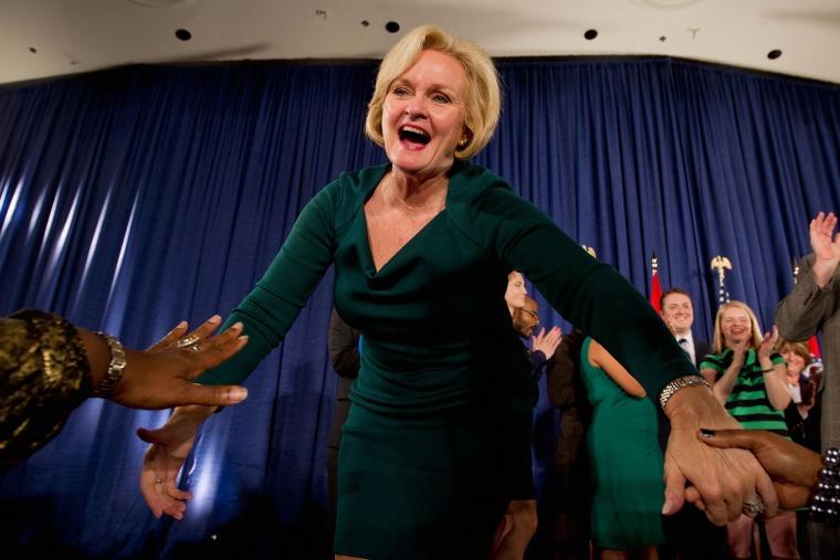 Image: Democratic Senate Candidate Sen. Claire McCaskill Holds Election Night Gathering