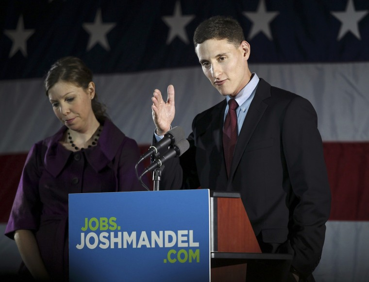 Image: Ohio Republican U. S. Sen. candidate Mandel speaks to supporters as he stands with his wife Ilana during his election night rally in Columbus, Ohio