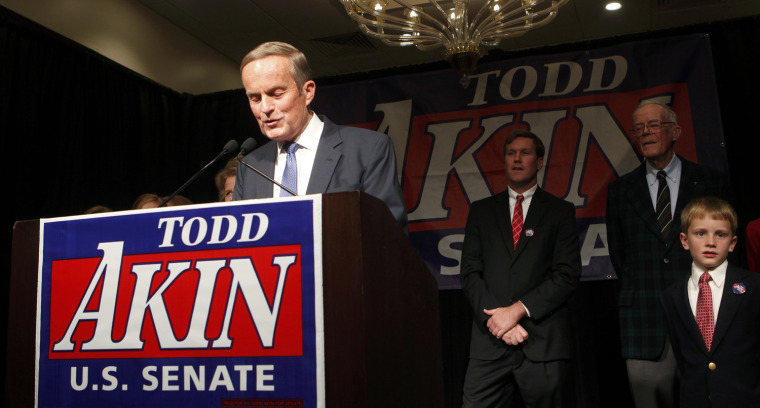 Image: Republican U.S. Sen. candidate Akin speaks to supporters after his loss during his election night rally in Chesterfield, Missouri