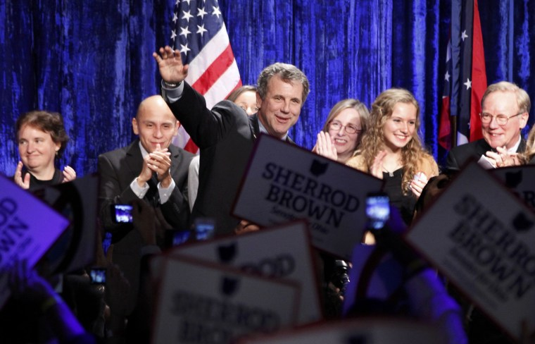 Image: Democratic U.S. Sen. Brown celebrates with supporters after defeating Republican challenger Josh Mandel during his election night rally in Columbus, Ohio