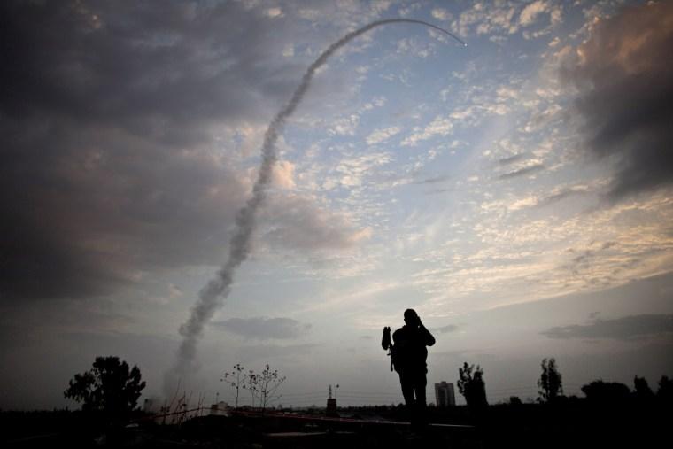 Image: *** BESTPIX *** Israel Intercepts Missile Attack On Tel Aviv