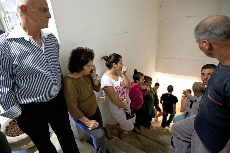 Image: Israelis in shelter in Ashkelon as air raid siren sounds