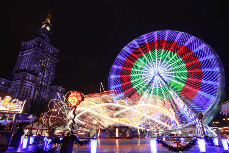 Image: A general view of the Christmas fair held in front of the Palace of Culture in Warsaw